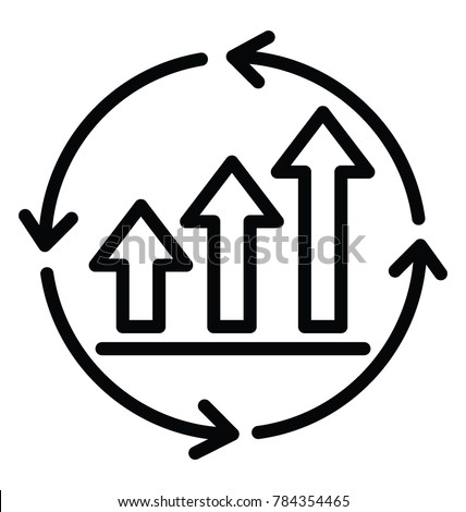 A growth chart with circular arrows in line design icon, continuous improvement concept
