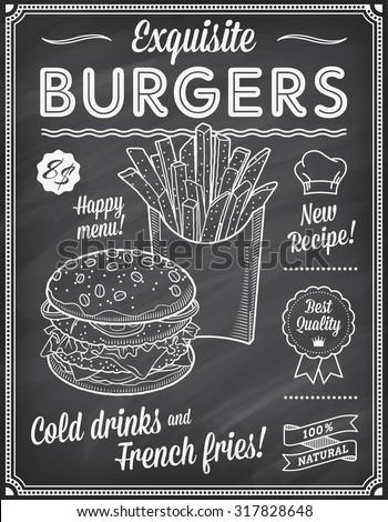 a grunge chalkboard fast food
