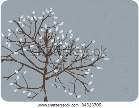 A grunge style tree against a blue swirl background with a winter feel.