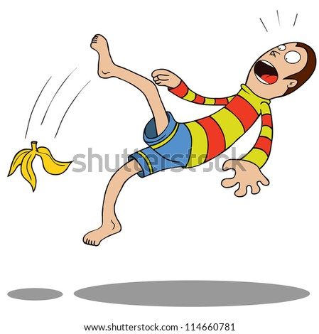 A guy slipped by a Banana.