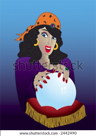 A gypsy dark-haired woman wearing an orange headscarf holds her hands above a crystal ball.