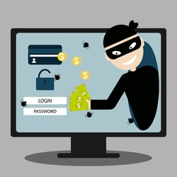 A hacker steals money, confidential data, personal information, and a credit card from a laptop computer. Internet phishing concept.
