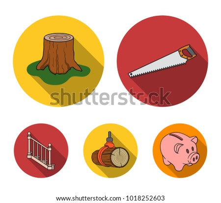 A hacksaw, a stump, a staircase with handrails, a beam. A sawmill and timber set collection icons in flat style vector symbol stock illustration web.