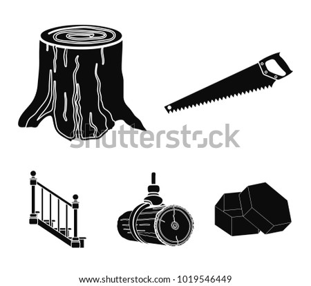 A hacksaw, a stump, a staircase with handrails, a beam. A sawmill and timber set collection icons in black style vector symbol stock illustration web.