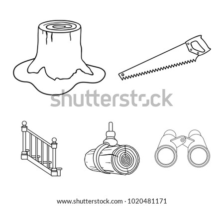A hacksaw, a stump, a staircase with handrails, a beam. A sawmill and timber set collection icons in outline style vector symbol stock illustration web.