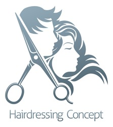 A hairdresser hair salon scissors man and woman sign symbol concept
