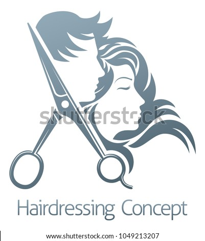 A hairdresser hair salon scissors man and woman sign symbol concept