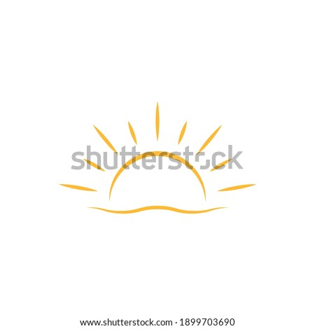 A half sun is setting downwards icon vector sunset concept for graphic design, logo, web site, social media, mobile app, ui illustration Сток-фото ©