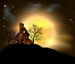 A Halloween haunted house illustration with a spooky house atop a hill with a large full moon in the background