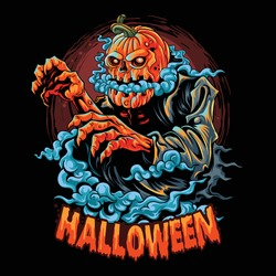 a halloween zombie with a pumpkin head filled with smoke coming out of its mouth. editable layers vector artwork