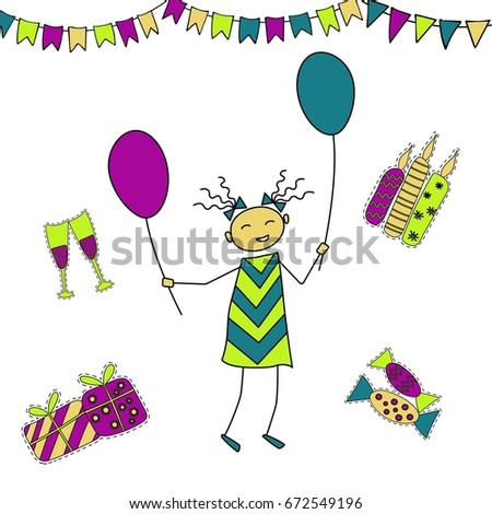 A Hand Drawn Girl With Air Balloons Parting Her Birthday Great For