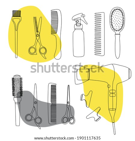 A hand drawn set of doodle hairdressing tools. Sketch, line art of hair salon accessories, scissors, hair dryer, combs, clips. Vector for the design of business cards and backgrounds.