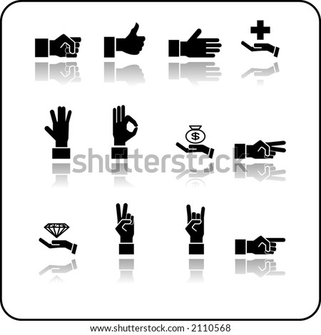 A hand elements icon set.