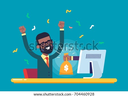 A hand from the monitor stretches a bag of money to a happy black man. Concept of earnings on the Internet, online income, gambling. Modern vector illustration.