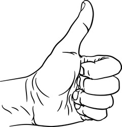 A hand giving a thumbs up or like gesture with thumb extended and fingers in a fist