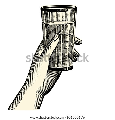 A hand holding a glass - vintage engraved illustration - French Newspaper - Paris 1910