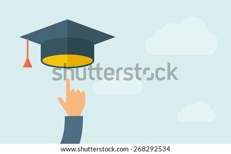 A hand pointing to graduation cap icon. A contemporary style with pastel palette, light blue cloudy sky background. Vector flat design illustration. Horizontal layout with text space on right part.