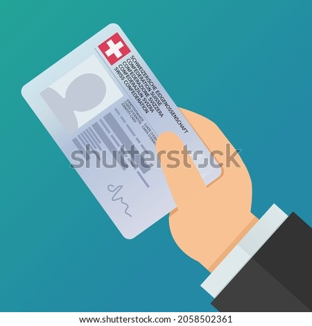 A hand present an identity card of the Swiss Confederation (Identity card and Swiss Confederation are written in the 5 official languages: French, German, Italian, English, and Romansh) (Flat design) Foto stock ©