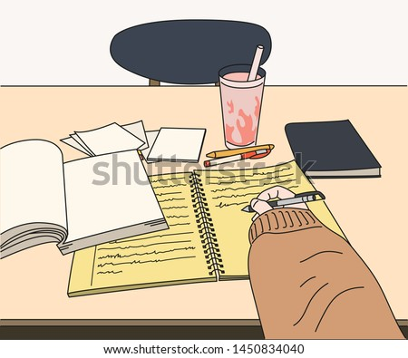 A hand that opens a book on a desk and writes something on a note. Someone is studying hard. hand drawn style vector design illustrations.