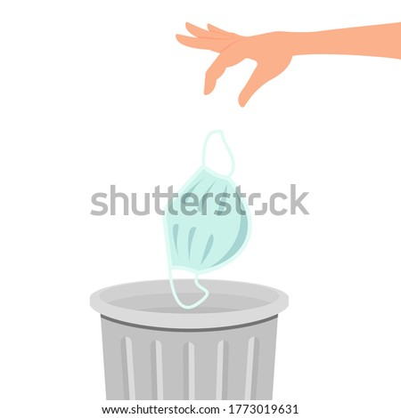 A hand throws a medical mask into the trash can. Vector illustration isolated on white background, flat cartoon design, eps 10. Stockfoto ©