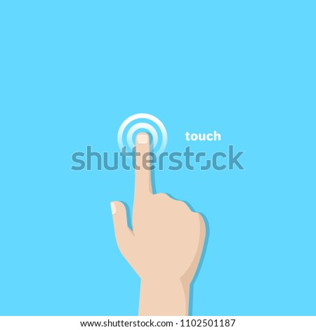 A hand with an extended finger pressing on the touch surface, a flat image
