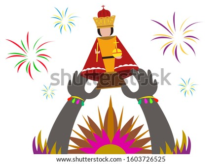 A hand with tribal headdress and costume raises up a figurine of the Sto. Nino or image of baby jesus as a symbol for Sinulog, dinagyang or ati-atihan festivals in the Philippines. Editable Clip Art,