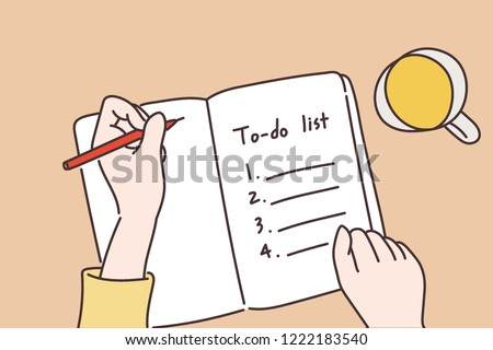 A hand writing a to-do list in a notebook. hand drawn style vector design illustrations.