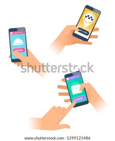 A hands make an orders online on the smartphones. Female and male hands are getting a taxi, ordering a delivery a food and goods. The sevices icons on the screens. Flat vector concept illustration.
