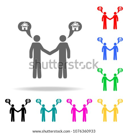 a handshake from the sale of a house icon. Elements of real estate in multi colored icons. Premium quality graphic design icon. Simple icon for websites, web design, mobile app on white background