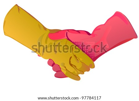 a handshake is in sanitary gloves, a pink glove and yellow glove