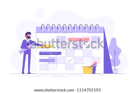A handsome businessman is planning his work. Modern concept for business planning, news and events, reminder and timetable. Flat vector illustration.