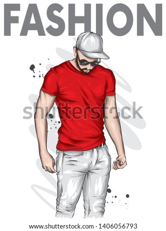 A handsome guy in cap and a T-shirt. A sporty man in summer clothes. Vector illustration for a postcard or a poster.