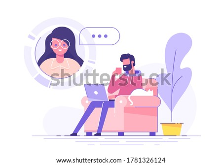 A handsome man using laptop for video call with his girl friend or colleague. Friends talking online. Online education and e-learning concept. Modern vector illustration.