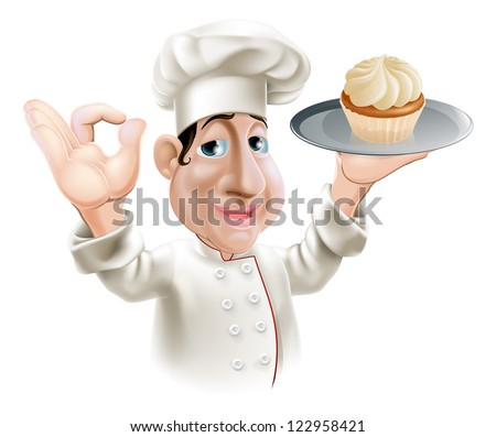 A happy baker smiling with a cake on a tray doing an okay gesture