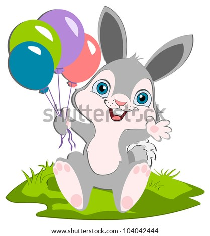 A happy bunny holding balloons weaving and smiling. A cartoon character.