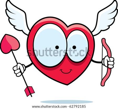 A happy cartoon heart cupid with bow and arrow.