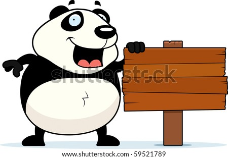 Happy Birthday Panda Cartoon. stock vector : A happy cartoon panda standing next to a sign.