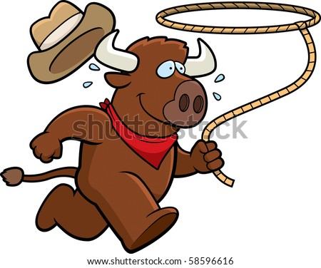 A happy cartoon rodeo buffalo running with a lasso. - stock vector