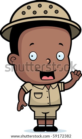 Happy cartoon safari boy waving and smiling stock vector