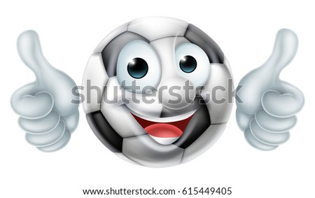 a happy cartoon soccer ball man