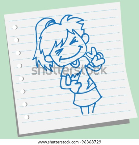 a happy cheerleader doodle illustration