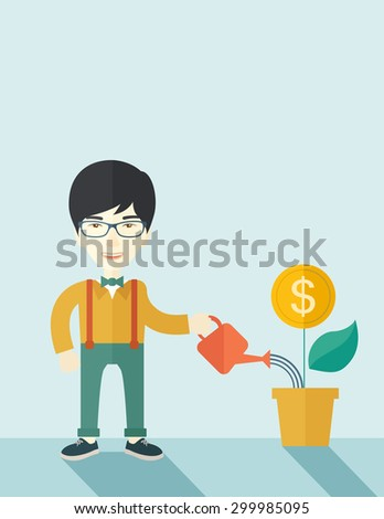 Vector images illustrations and cliparts a happy chinese business person watering a growing - Successful flower growing business ...