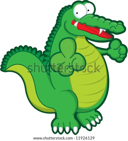 A happy crocodile pointing at you