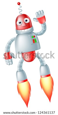 A happy cute flying red and silver robot man with boosters on his feet taking off and waving