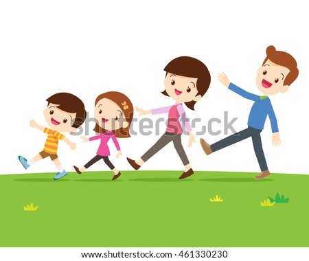 A Happy Family With Two Children Walking In A Line Isolated On sward.Dad son mom daughter are walking so happy.