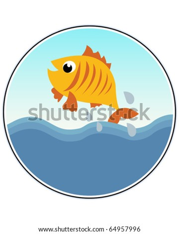 A Happy Goldfish - funny vector illustration