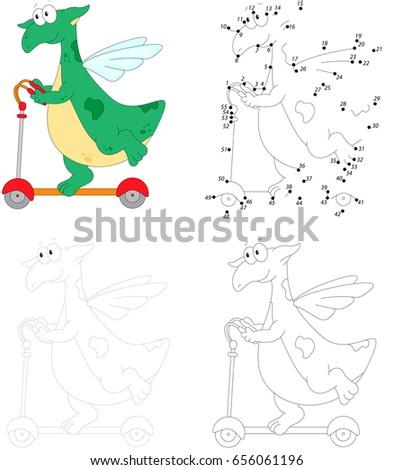a happy green dragon riding a