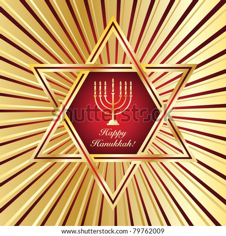 A Happy Hanukkah card template in red and gold. EPS10 vector format