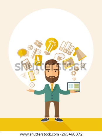 A happy hipster Caucasian a self employed with beard standing enjoying doing a multitasking, working on different projects from his home office only by himself. Self reliance concept.