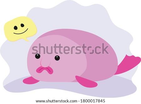 a happy pink blob fish  ugliest